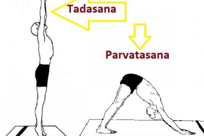 Tadasana and Parvatasana