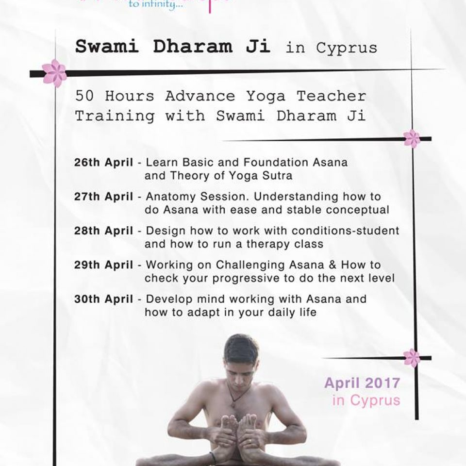 50hrs Exclusive Advance Teacher Training with Swami Dharam Ji in Cyprus